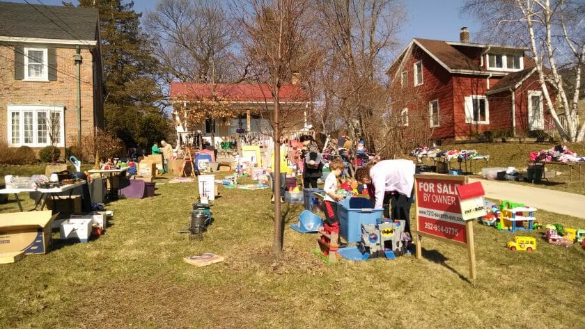 Here is the rummage sale we had at my sisters.