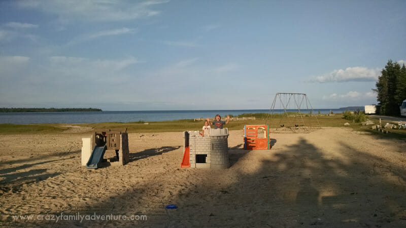 The playground and beach area at Castle Rock Campark Saint Ignace, MI (A mile from the ferry that takes you to Mackinac Island).