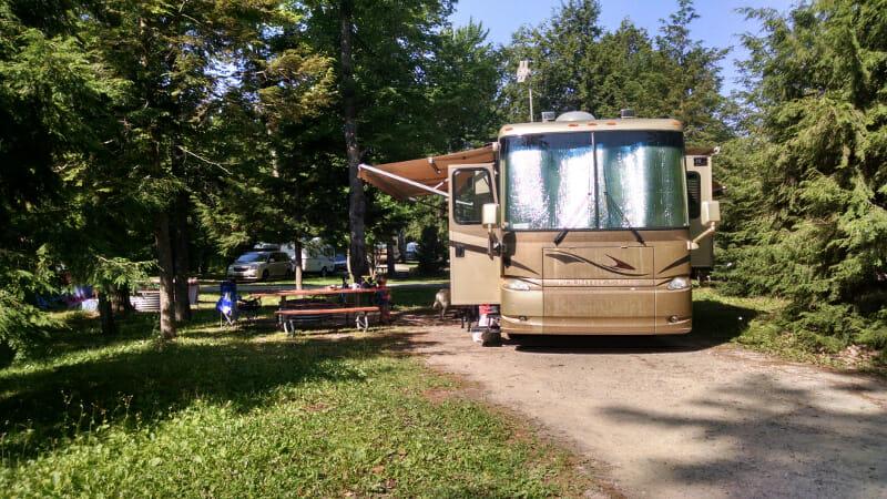 Campsite at Tahquamenon Falls, Michigan.