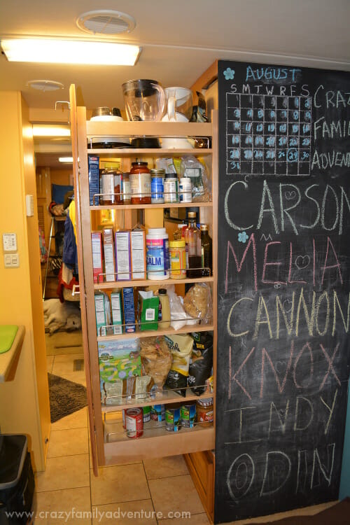The chalkboard wall and pantry that Craig put in.