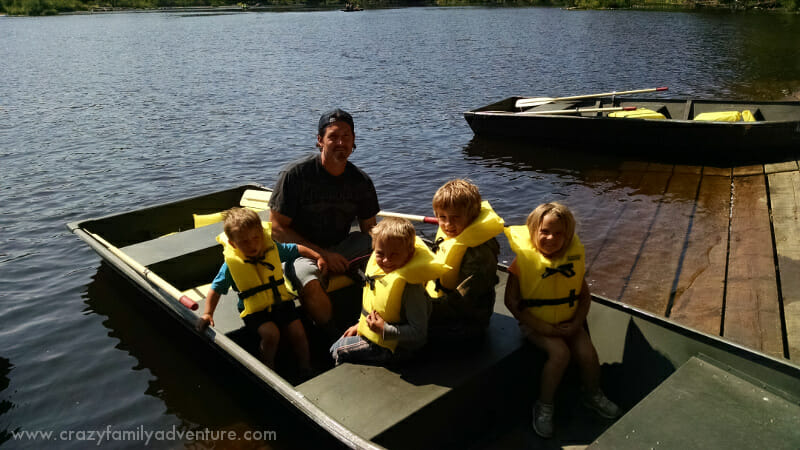 Rowing the boat across to the waterfalls at Tahquamenon Falls in Michigan!