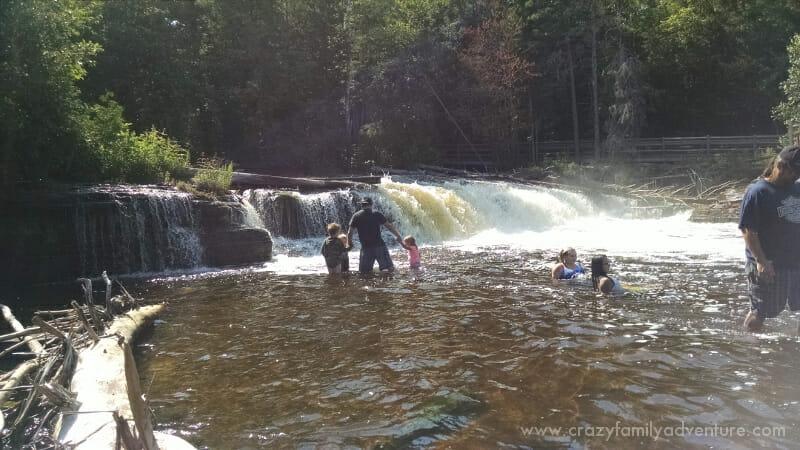 Checking out the watefalls at Tahquamenon Falls.