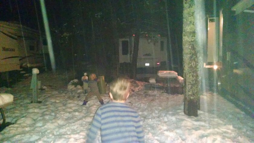 Kids loving the snow at our campsite in Gatlinburg!