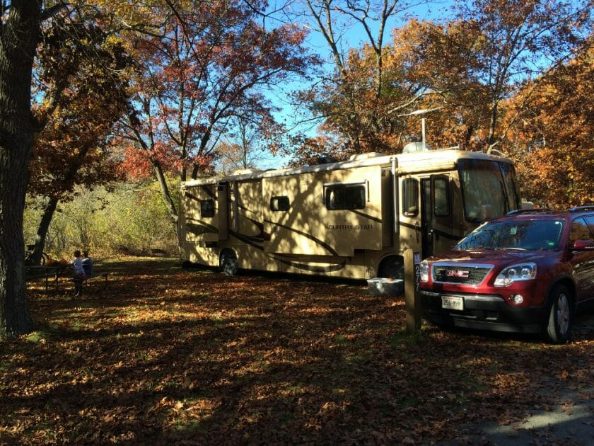 Our site at Illinois Beach Park. Lot's of leaves!