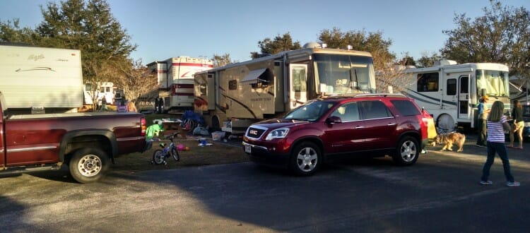 Our set up. My parents are on the left then us in the middle and my sister on the right!