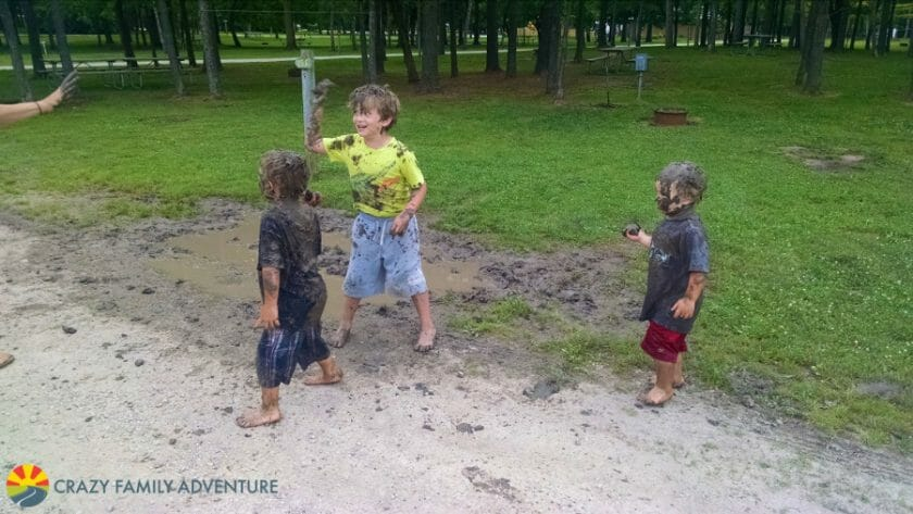 How about a mud fight? YES!