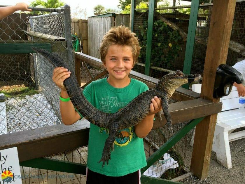 Carson holding a baby gator