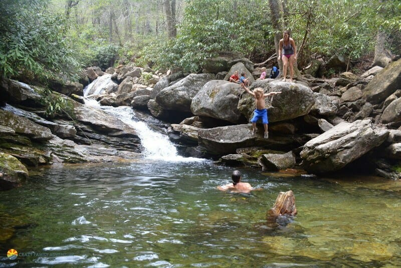 hiking with kids by asheville skinny dip falls cliff jumping