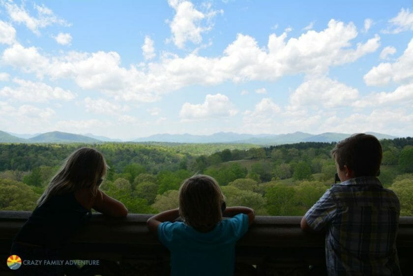 The kids taking in the view off the Biltmore balcony