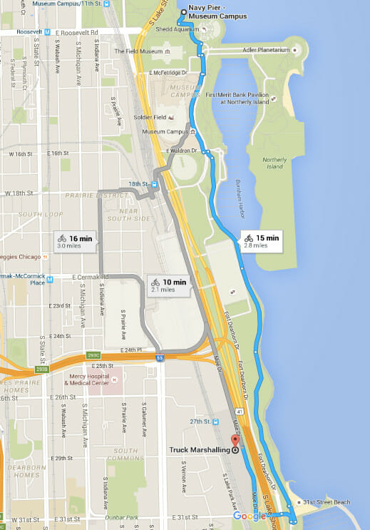 Bike route from the Best RV Park Near Chicago to Navy Pier
