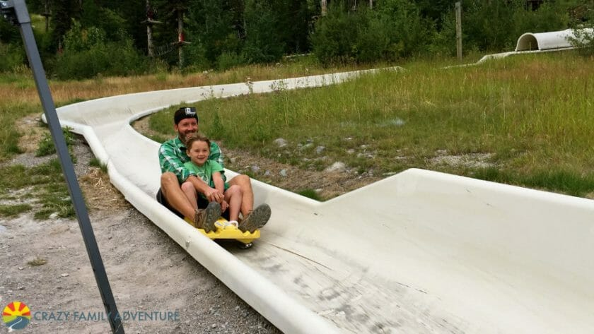 Cruising down the Alpine Slide at Whitefish Mountain Resort