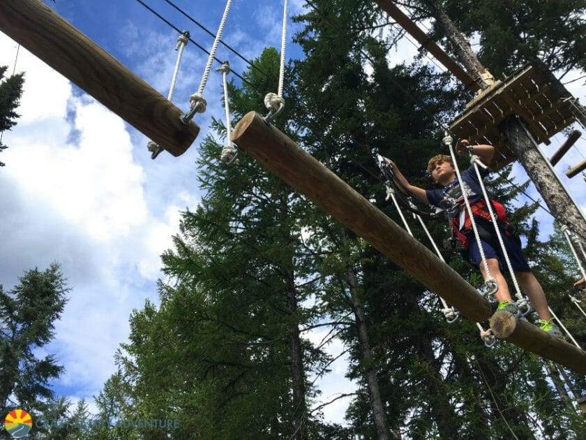 High up in the Aerial Adventure course is one of the best Whitefish Mountain Resort summer activities