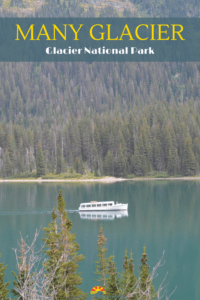 Many Glacier in Glacier National Park in Montana. You will love the water, mountains, and animal sightings! This is a park you don't want to miss when traveling in Montana.