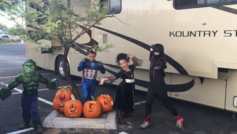 Halloween in a casino parking lot!