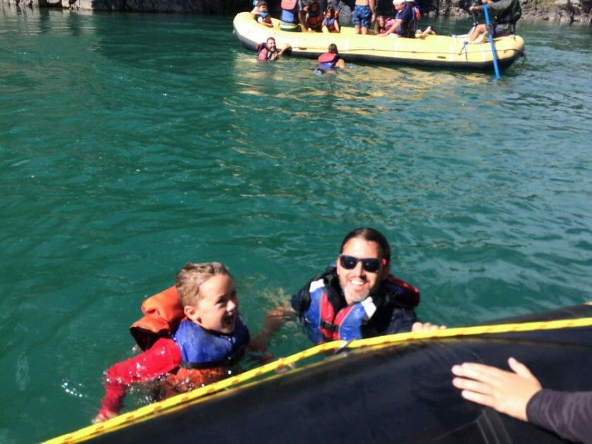 Swimming on rafting trip