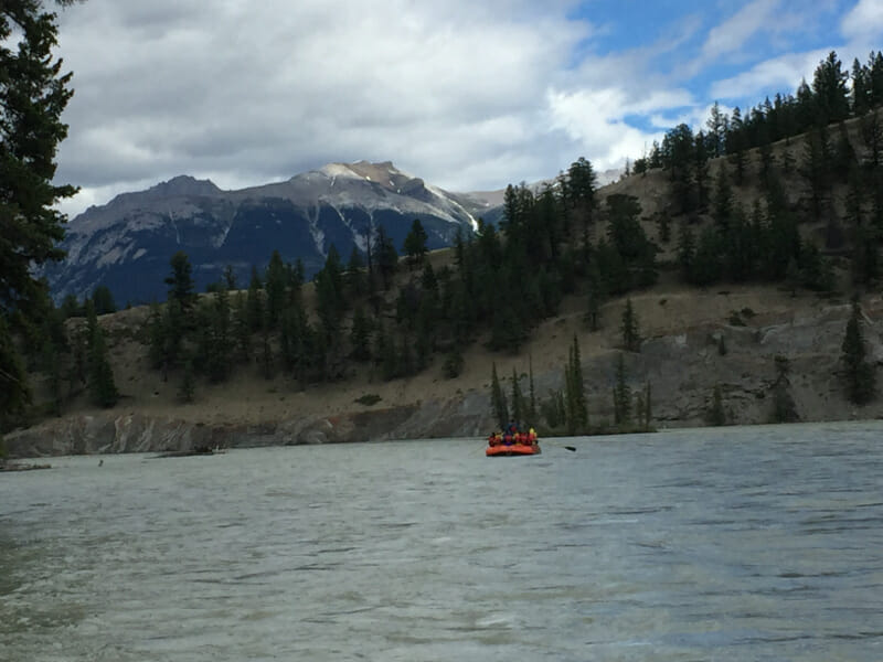 Rafting down the Athabasca River in Jasper National Park