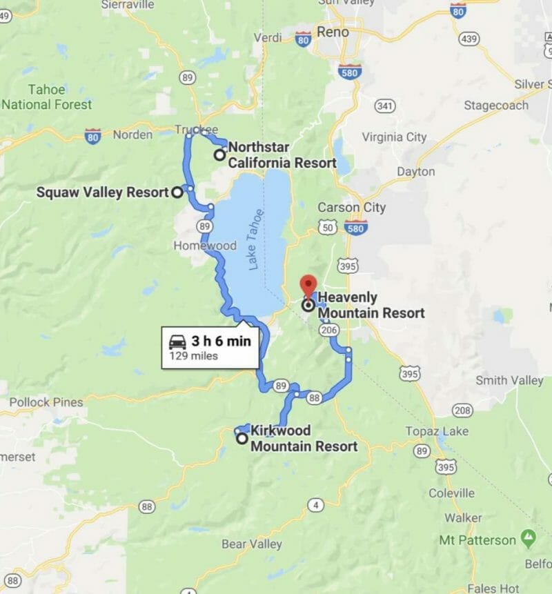 map of skiing resorts in lake tahoe