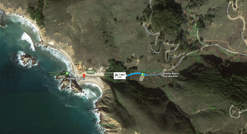 Map to Pfeiffer Beach