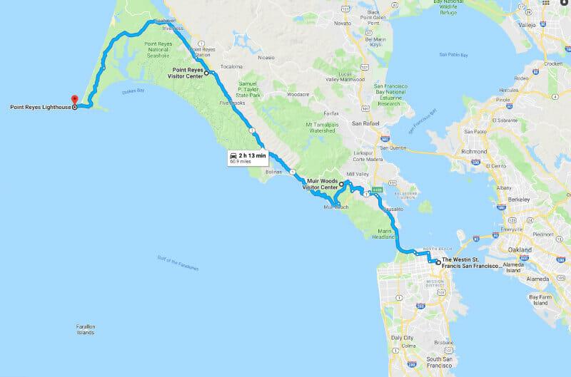 Map outside of San Francisco