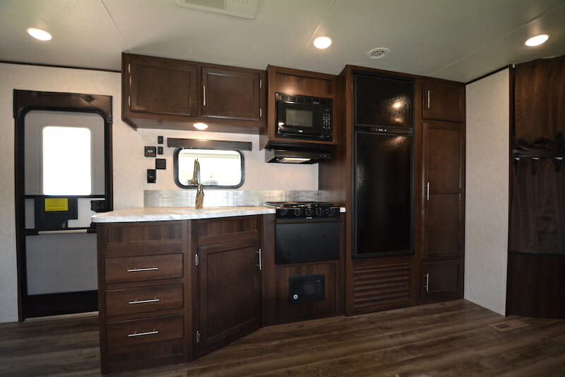 RV remodel before and after kitchen