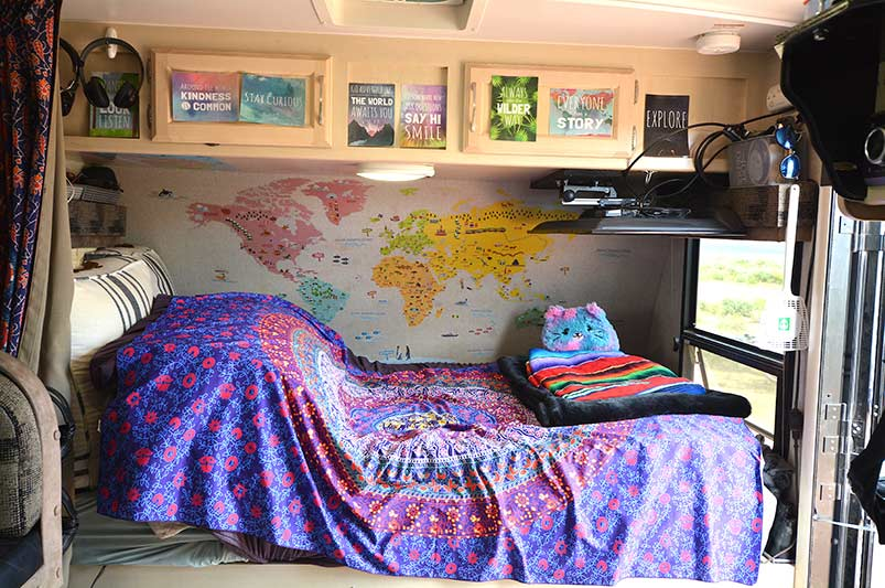Travel trailer bed area
