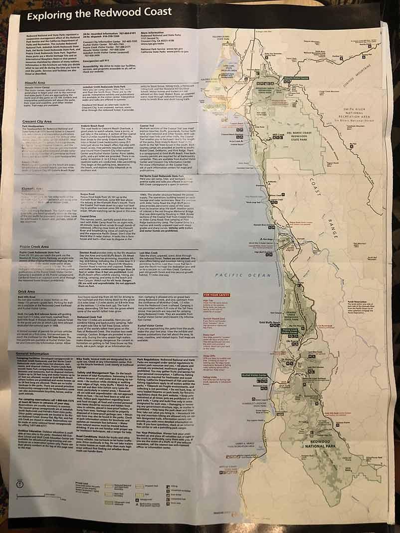 Map of Redwoods National Park