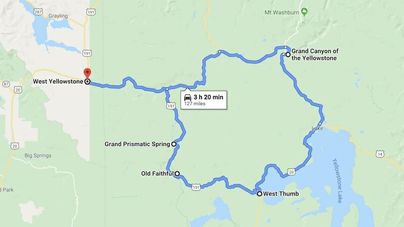 Map of West Yellowstone Area