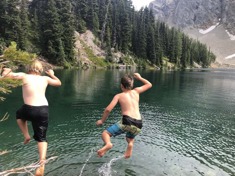 Jumping in Blue Lake