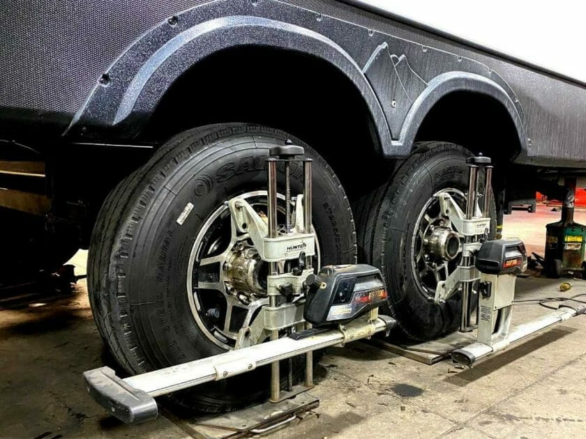 Balancing the tires on our new independent suspension