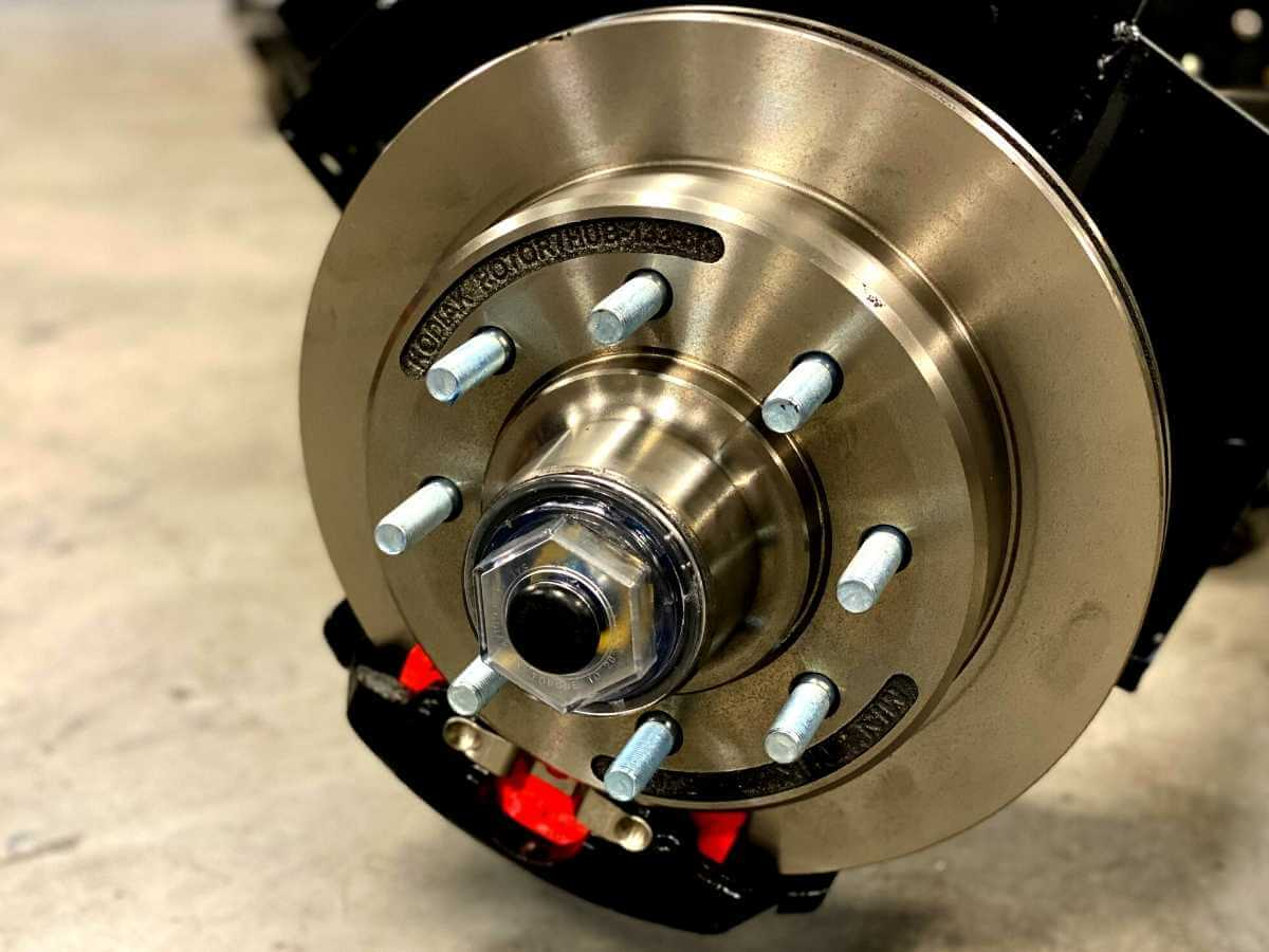 close up of trailer disc brakes