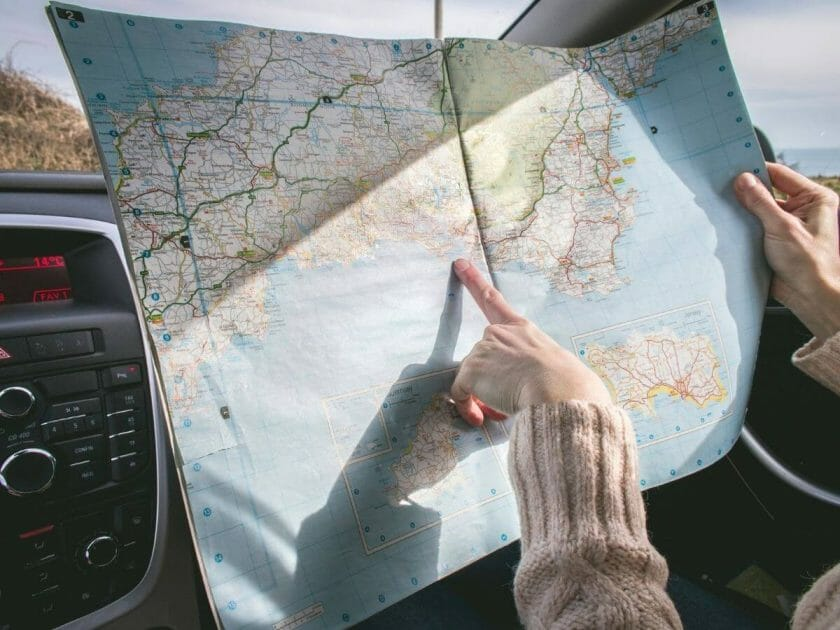 Picture of a road map for your road trip essentials