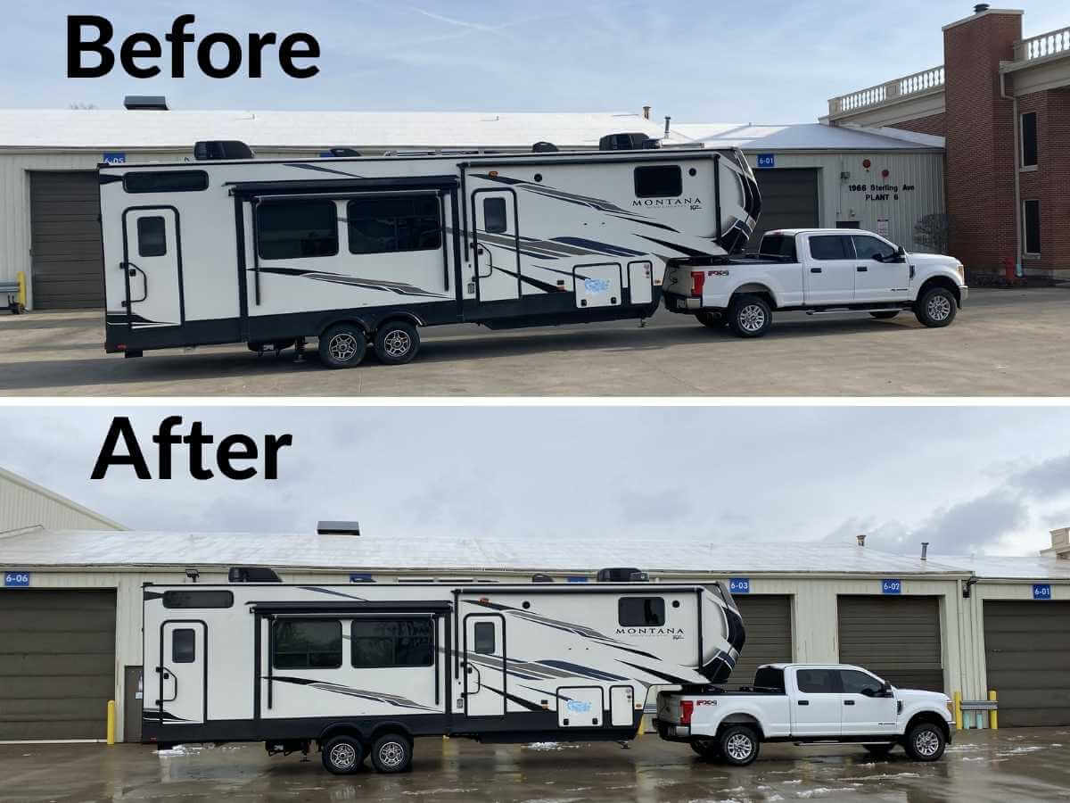 Before and after picture of the trailer height