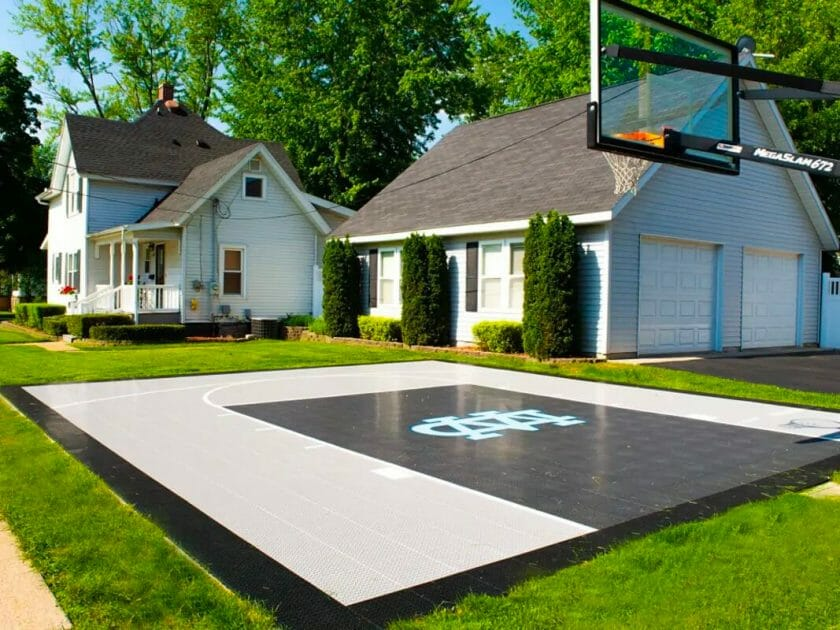 Outside basketball court at the field house