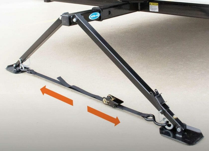 """MORryde's X-Brace Hitch Mount Stabilizer easily attaches to the rear 2"""" hitch receiver on any RV and provides excellent front to back stabilization"""