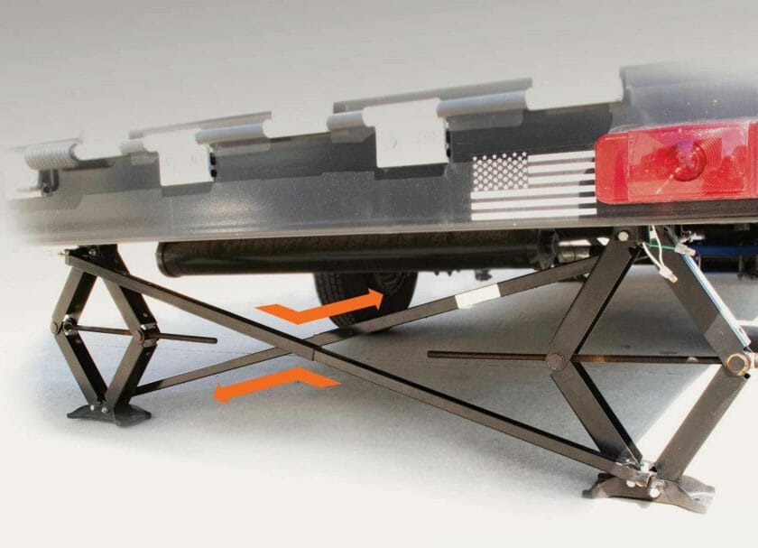 MORryde's Scissor Jack Stabilizer easily attaches to any scissor jack and provides excellent side to side stabilization