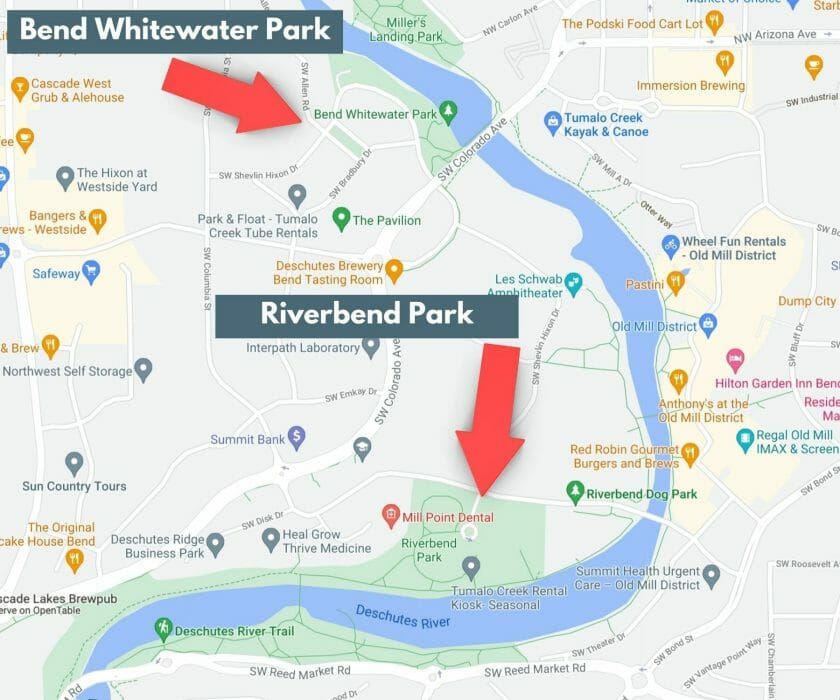 River Float in Bend Map